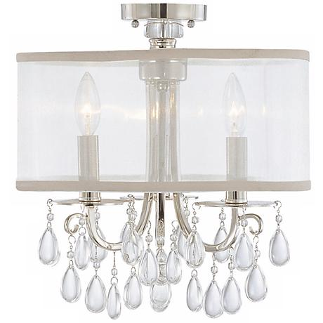 "Crystorama Hampton Collection Chrome 14"" Wide Ceiling Light"