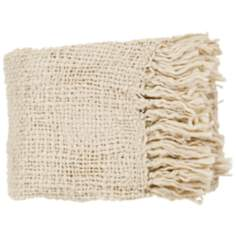 Tobias Collection Ivory Throw