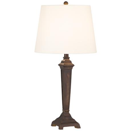 Dark Walnut Wood Tone Tapered Square Base Table Lamp