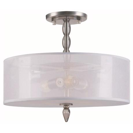 "Crystorama Luxo Satin Nickel 18"" Wide Ceiling Light"