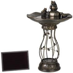 Solar Powered Three Frog Bird Bath Fountain