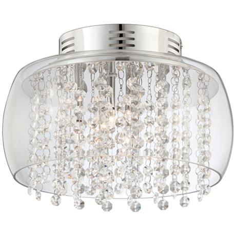 "Possini Euro Crystal Rainfall Glass Drum 11""W Ceiling Light"