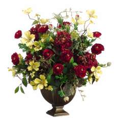 Burgundy and Yellow Faux Flower Arrangement
