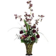 Orchid Faux Flower Arrangement in Vine Vase