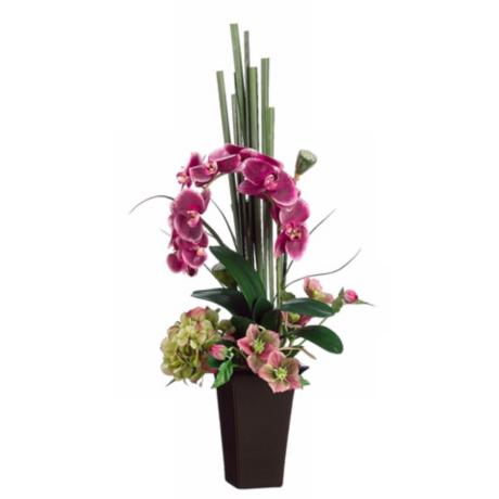 Orchid and Hydrangea Faux Flower Arrangement