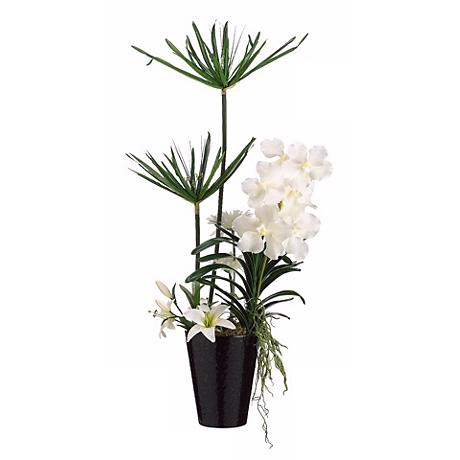 "Orchid and Tiger Lily 36"" High Faux Flower Arrangement"