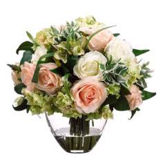 Cream Rose and Hydrangea Faux Flower Arrangement