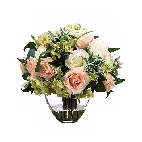 "Cream Rose and Hydrangea 13"" High Faux Flower Arrangement"