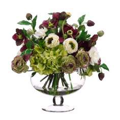 Rose and Hydrangea Faux Flower Arrangement