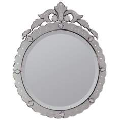 "Crowned Venetian Round 34"" High Wall Mirror"