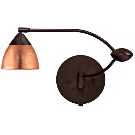 "Bronze Copper Foil 18 1/2"" Plug-In Swing Arm Wall Light"