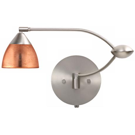 "Nickel Copper Glass 18 1/2"" Plug-In Swing Arm Wall Light"