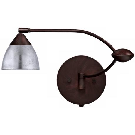 "Bronze Silver Foil 18 1/2"" Plug-In Swing Arm Wall Light"