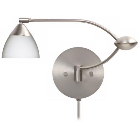 "Divi Nickel Opal Glass 19"" Plug-In Swing Arm Wall Light"