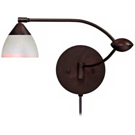 "Divi Bronze Pearl Glass 19"" Plug-In Swing Arm Wall Light"