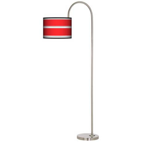 Red Stripes Arc Tempo Giclee Floor Lamp