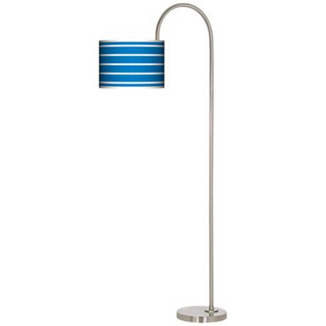 Bold Blue Stripe Arc Tempo Giclee Floor Lamp