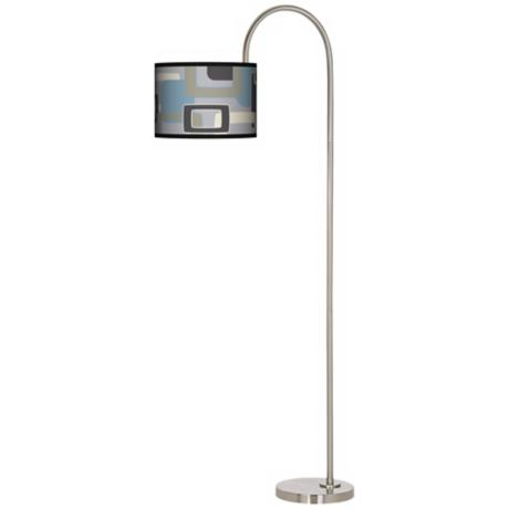 Retro Lithic Rectangles Arc Tempo Giclee Floor Lamp