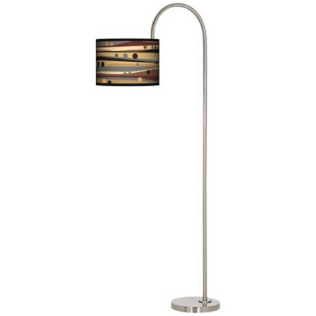 Natural Dots and Waves Arc Tempo Giclee Floor Lamp