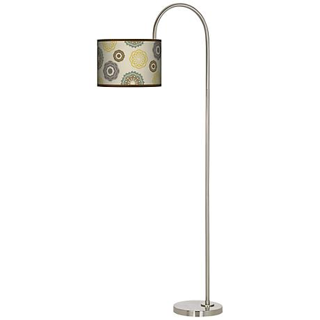 Ornaments Linen Giclee Arc Tempo Floor Lamp