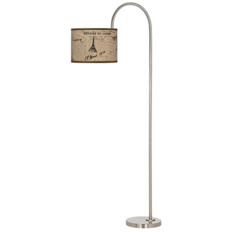 Letters to Paris Linen Arc Tempo Giclee Floor Lamp
