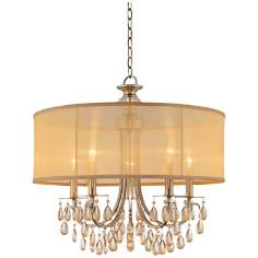 "Hampton Collection Antique Brass 24"" Wide Chandelier"