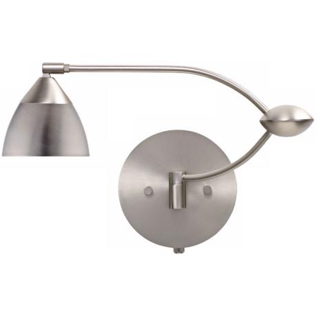 "Nickel Metal Glass 18 1/2"" Plug-In Swing Arm Wall Light"