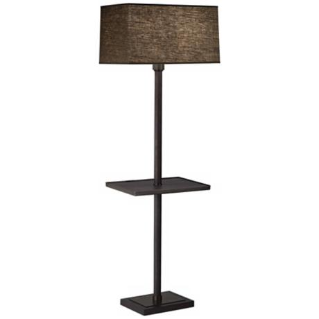 Robert Abbey Oak Bronze Truffle Adaire Tray Table Floor Lamp
