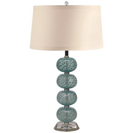 Aqua Hand-Blown Glass Ball Table Lamp