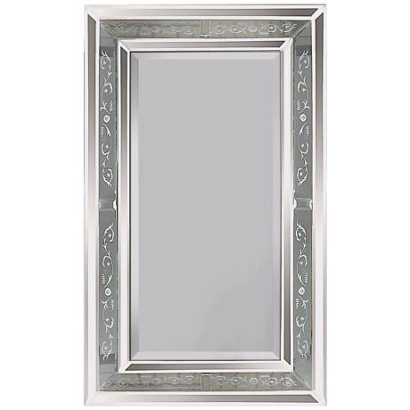 "Venetian Antiqued Glass Frame 36"" High Wall Mirror"
