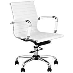 White Leather Low Back Swivel Office Chair