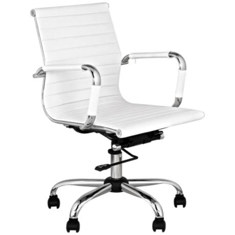 White Leather Low Back Swivel Office Chair - #M5402 | LampsPlus.