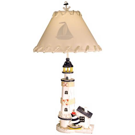 Lighthouse with Sailboat Table Lamp