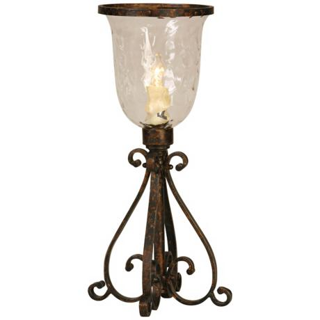 Hammered Glass Hurricane Accent Lamp