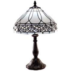 Traditional Bejeweled Gold Tiffany Style Table Lamp