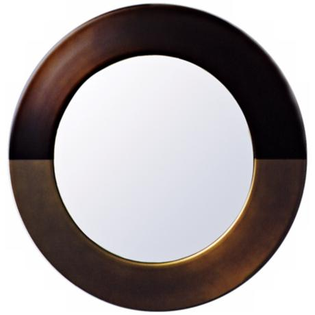 "Babette Holland Sunset Bronze Round 30"" Wide Wall Mirror"