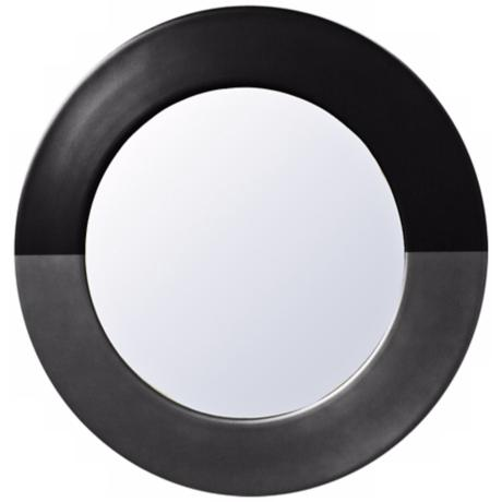 "Babette Holland Sunset Charcoal Round 30"" Wide Wall Mirror"