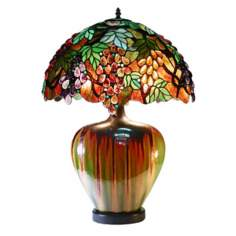Grape Design Ceramic Base Tiffany Style Table Lamp