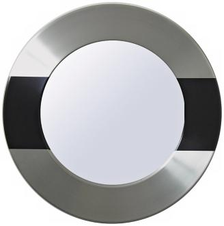 Babette Holland Uptown Black and Silver Round Wall Mirror