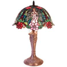 Angel Design Tiffany Style Accent Table Lamp