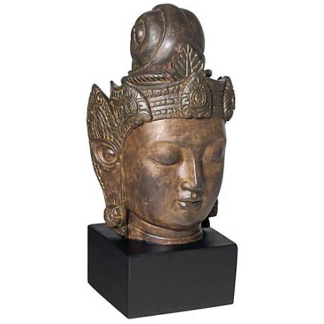 "Large Buddha Head on Stand 15"" High Sculpture"