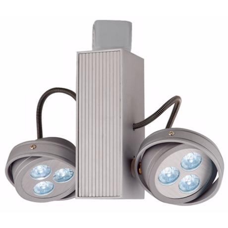 Silver LED Round 6-Light Two Spot JU Track Head
