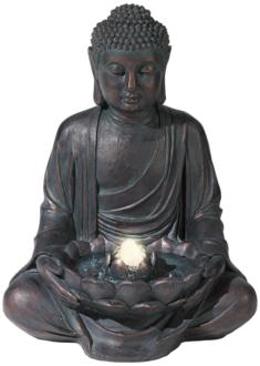Meditating Aged Bronze Buddha LED Indoor/Outdoor Fountain (M5794)