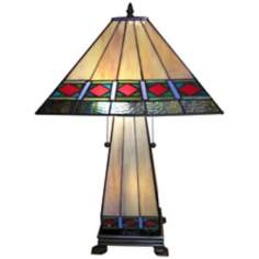 Mission Lighted Base Tiffany Style Table Lamp