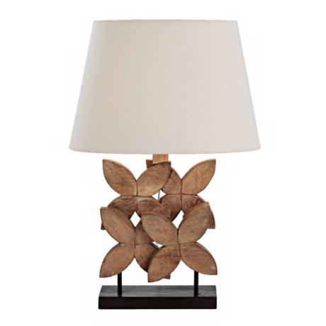 Ella Natural Wax Carved Wood Table Lamp