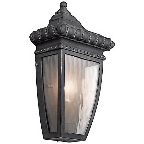"Venetian Rain Black 12"" High ADA Outdoor Wall Light"