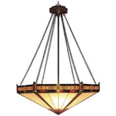 Aged Bronze Filigree Tiffany Style 3-Light Chandelier
