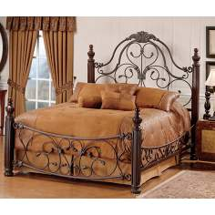 Bonaire Wood and Brushed Bronze Finish Bed