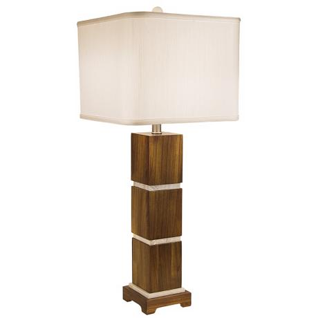 Thumprints Bali with White Square Shade Table Lamp