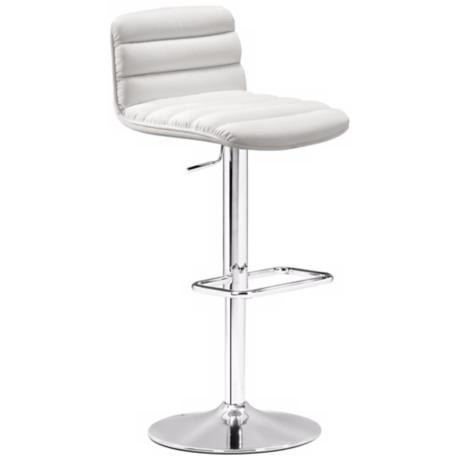 Zuo Nitro White Adjustable Bar Stool or Counter Stool